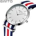 Top Brand Luxury GIMTO Analog Quartz Watch Simple Men Women Watches Casual Military Nylon Silver Clock Relojes Montre Horloge