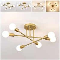 6/8 cabeza LED lámpara colgante de hierro Industrial iluminación de sala de estar 220V E27 (bombilla no incluida)