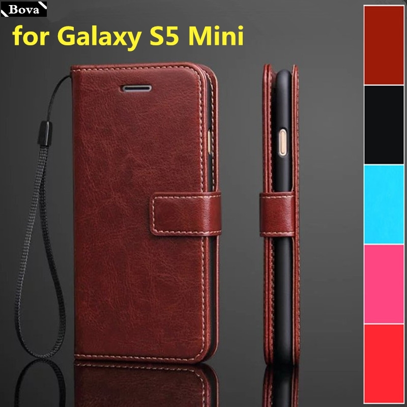 card holder cover case for <font><b>Samsung</b></font> Galaxy S5 Mini <font><b>G800F</b></font> pu leather phone case S5 Mini wallet flip cover protective case image