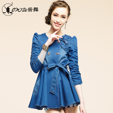 2014Spring New Korean Women Cotton Jeans Jacket Double-Breasted Fashion Skirt Style Cute Bow Puff Sleeve Denim Coat D2527