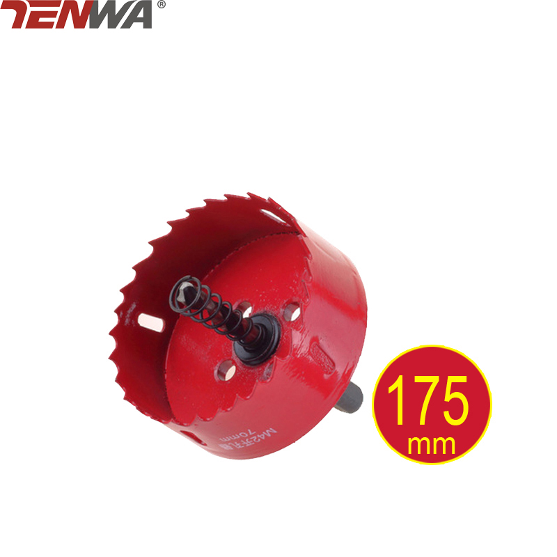 TENWA 175mm Bi-metal Hole Saw Core Drill Bit Power tools Metal Drilling Drill Bit Woodworking Wood Drilling Tools stones bricks concrete cement stone 50mm wall hole saw drill bit 200mm round rod