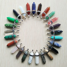 Wholesale 50pcs/Lot 2018 Fahsion Hot Selling Natural Stone crystal charms point pillar Pendants for necklace making free(China)