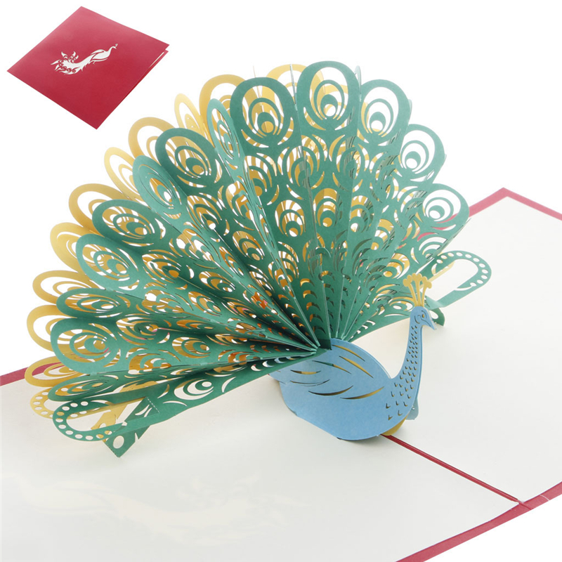 Vintage 3D Pop Up Paper Laser Cut Greeting Cards Creative Handmade Peacock Postcards for Lover Thank You Cards 3d pop up paper laser cut greeting cards creative handmade cake birthday postcards for lover thank you cards h06