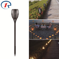 ZjRight 96 Led Flame Effect Light Bulb Solar Garden Path Torch Dance Flickering Lights Outdoor Landscape