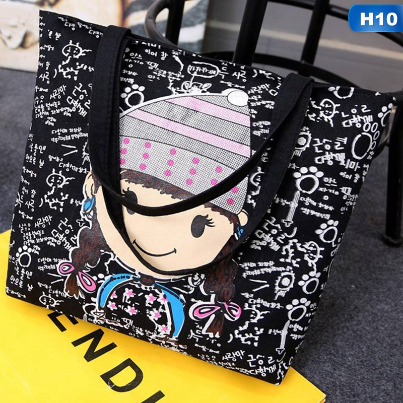 8597b7a9f7 ... Large Black Canvas Tote Bag Fabric Cotton Cloth Reusable Shopping Bag  Women Beach Handbags Cats Printed Grocery Bags