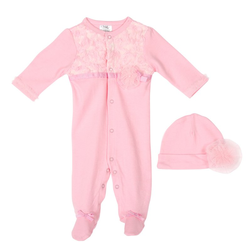 Princess Style Newborn Baby Girls Clothes 2 Pcs Set Floral Lace Rompers+Hats Sets Infant Bodysuit Long Sleeve Outfits