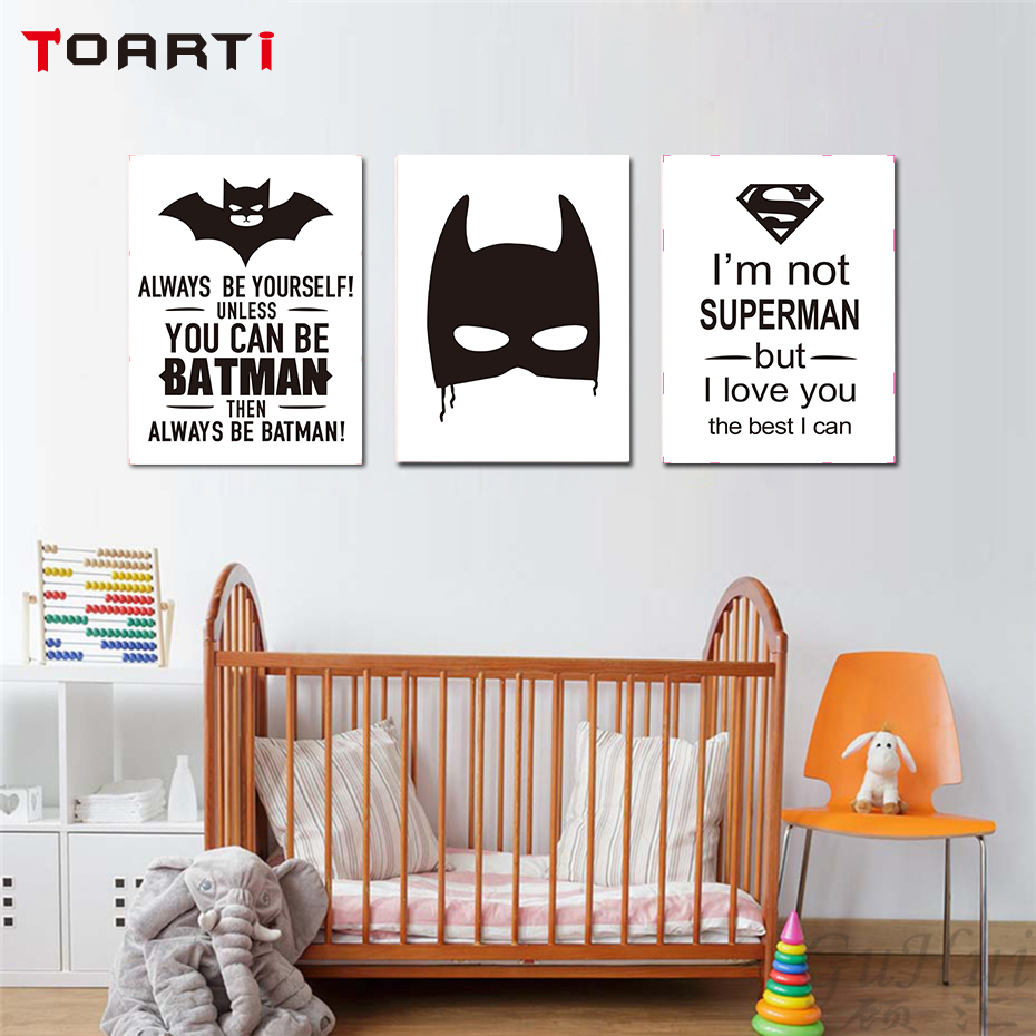Childs Nursery Play Room Bedroom Poster Always Be Batman Motivation Art