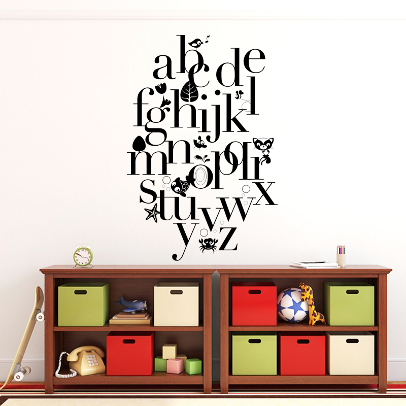 Kucada Creative Children S Room Diy Art Wall Stickers Home Decoration Vinyl Wallpaper Fun Letters Teaching Jg1671 In From Garden On