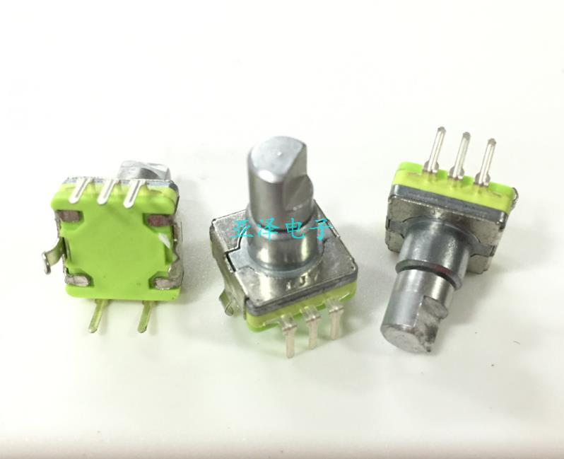 5PCS/LOT LJV high quality EC11 type rotary encoder switch, 30 position 15 pulse shaft length 12MM, car digital potentiometer alps ec11 double shaft encoder dual with switch 2 in 30 positioning 15 pulse potentiometer shaft length 30mm