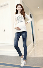 Korean women fall pregnant women pants denim trousers pants pregnant belly support pencil pants pants nine maternity clothes