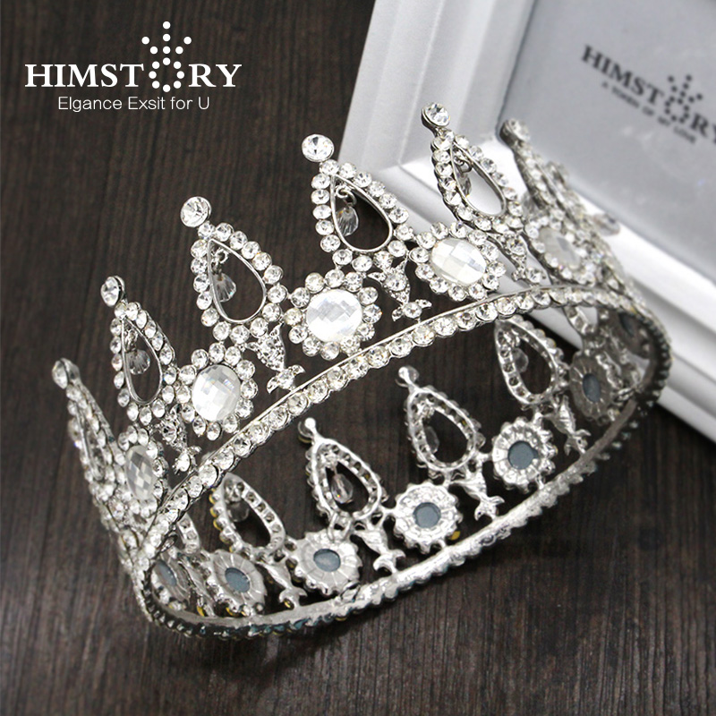 HIMSTORY Vintage Baroque Luxury Circle Rhinestone Princess Tiara Crystal Wedding Hair Accessory Queen Pageant Crown