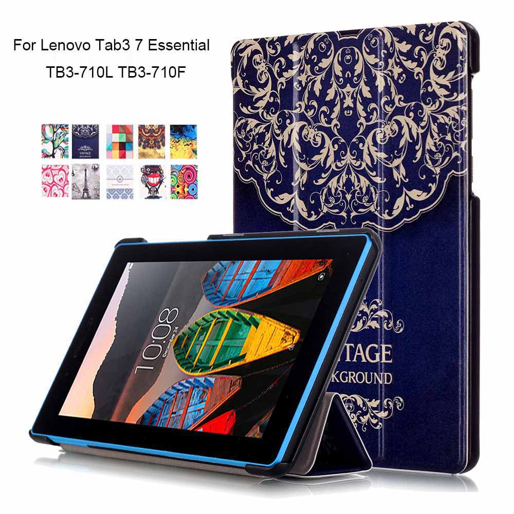 Tablet Case for Lenovo Tab3 7 Essential Paint PU Leather Funda for Lenovo Tab 3 7 TB3-710L TB3-710F 7''Shell+Touch Pen new 7 inch for lenovo tab 3 essential 710f tab3 tb3 710f tab3 710f touch screen digitizer lcd display sensor replacement
