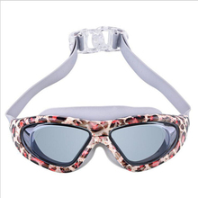 Adults Printing Swimming Glasses Goggles Large Frame Plated Waterproof Anti-fog Leopard HD