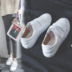 Image 2 - Женские кроссовки SWYIVY, Белые Повседневные кроссовки на платформе, с петля на заднике кроссовок и петлей, осень 2019