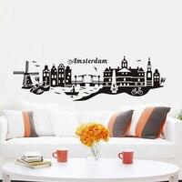 Амстердам знаменитый город Landmark стены Стикеры весь пейзажа Водонепроницаемый Книги по искусству виниловая наклейка кафе Гостиная декора д...