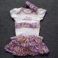 3 pçs/lote Macacão de Bebê Conjunto Roupa Da Menina Romper + Bandana Infantil Roupas de Bebê Bebê Meninas Floar Vestido Macacão Para Recém-nascidos
