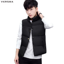 VERSMA Korean Slim Fit Winter Mens Warm Travel Vest Waistcoat Men Sleeveless Jacket White Photographer Vest Male Plus Size 5XL