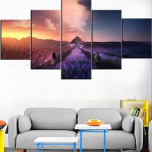5 Pieces HD Printed Painting Walking In Lavender Flower Field Boy And Girl Poster Home For Modern Decor Bedroom Wall Art Framed