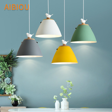 AIBIOU Birds LED Pendant Light With Metal Lampshade For Dining Room White Lamp Colorful Hanging E27 Bar Luminaira