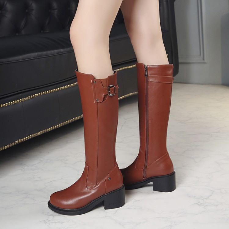 marrón Tacones Pxelena Calzado Montar Pie Cuadrado 2018 Rodilla 43 Negro Botas Mujeres Med Zapatos Mujer Del Largas Invierno Marrón Dedo Negro Redonda 34 f4fBwPqrx