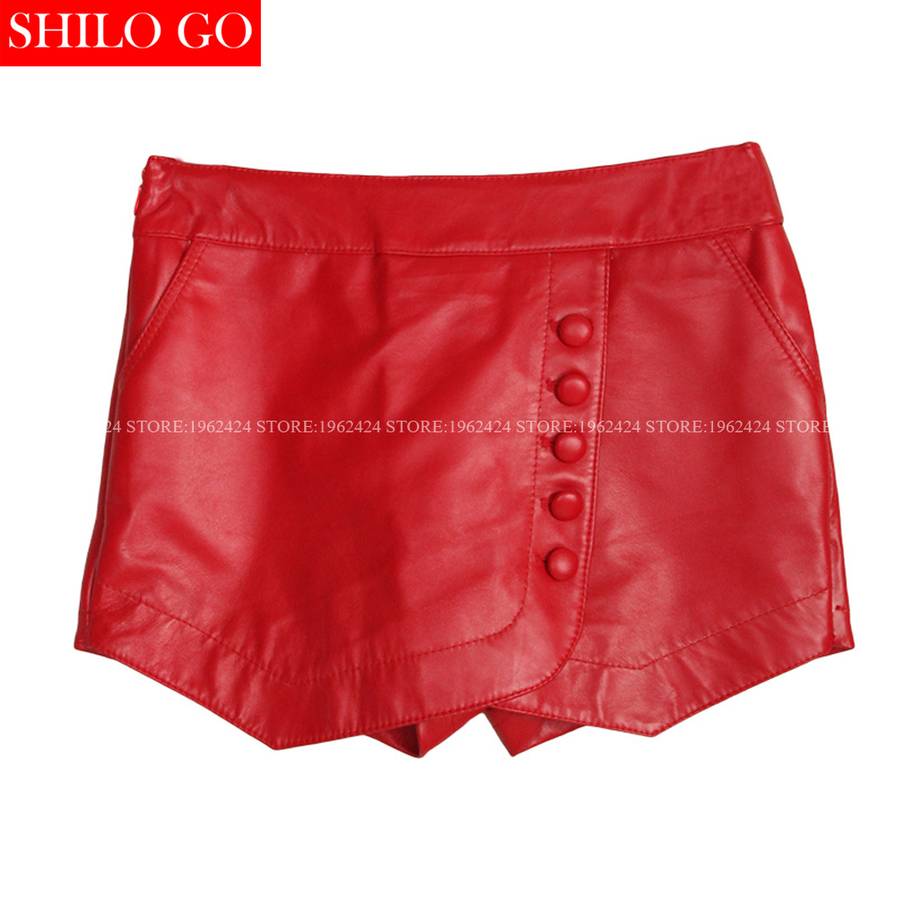 2017 spring fashion women high quality sheepskin leather buttons irregular hem was thin red high waist leather skirt pants 3XL