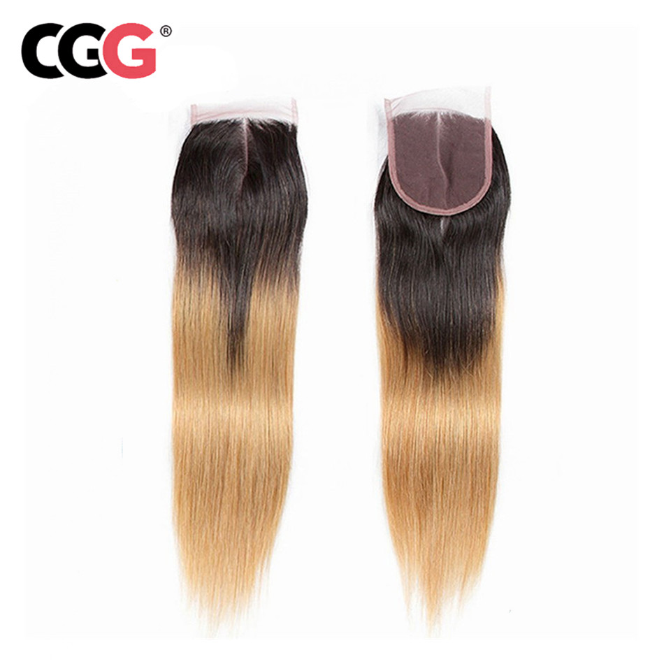 CGG Closure Hair 1B/27 Malaysian Straight Ombre with Middle-Part 4--4 Non-Remy Lace Swiss