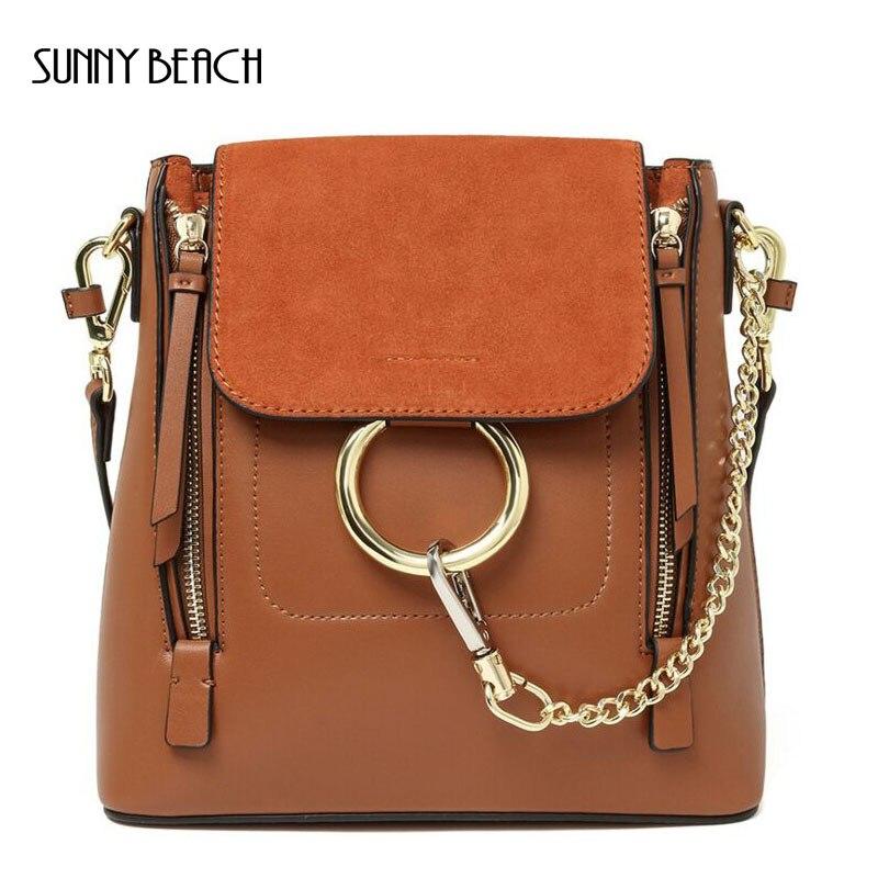 ФОТО Fashion Chic Vintage Genuine Leather Shoulder Bag Round Ring Front Chain Handbags Women  Bag Bolsas Feminina Bags