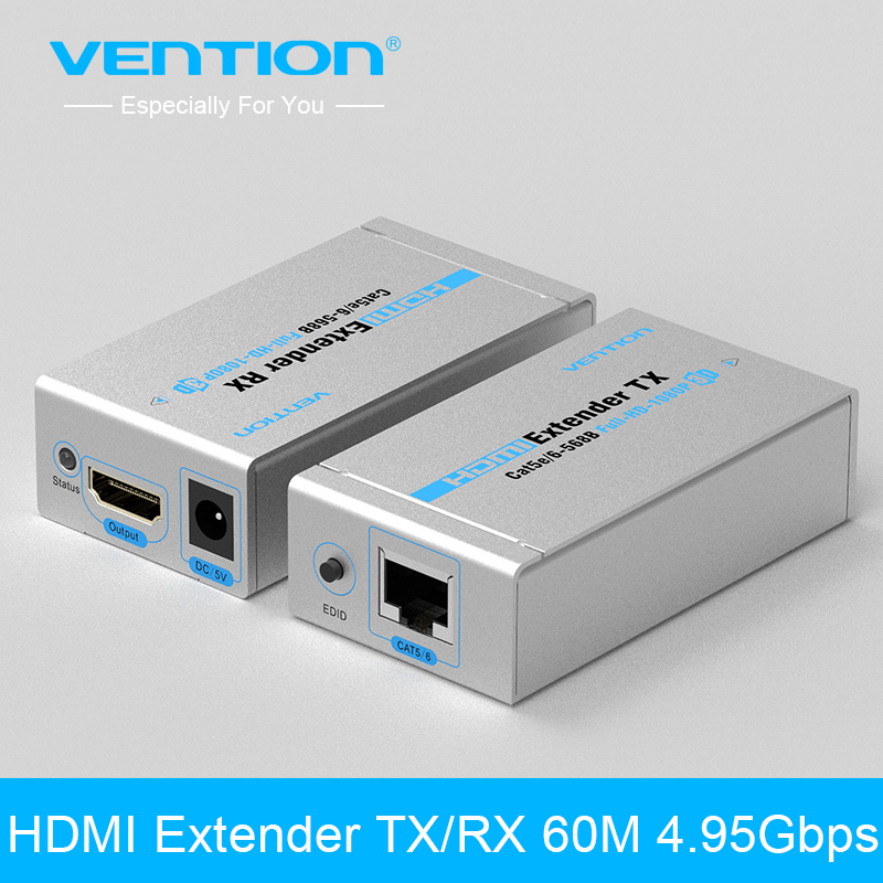 Vention HDMI Extender TX/RX 60M 4.95Gbps Speed Fast Transmission Support HDMI 3D EU/UK/AU/US plug 1080i/720p/576p/576i