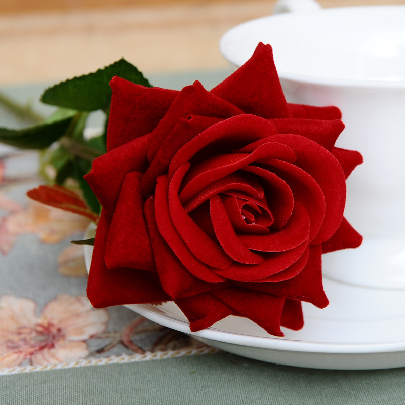 1PC French Romantic Artificial Rose Flower DIY Velvet Silk Flower for Party Home Wedding Holiday Decoration