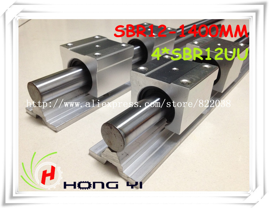цены  free shipping SBR12  linear rails L =1400mm  + 4 pcs SBR12UU Linear Guides straight-line motion block for SFU1204 Ball screw