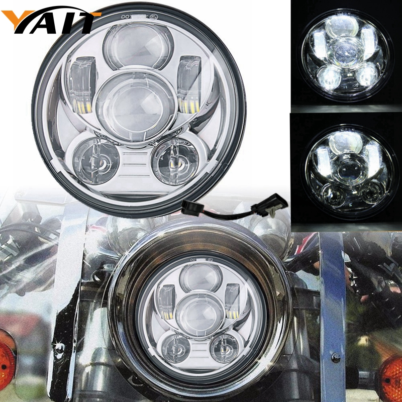 1pcs H4 7 inch Motorcycle Projector Daymaker LED Headlight High/Low Beam Light For Harley Davidson Tour Glide Head Light Bulb 5 75 led motorcycle headlight high low beam motor led headlamp driving light for harley davidson projector daymaker headlights