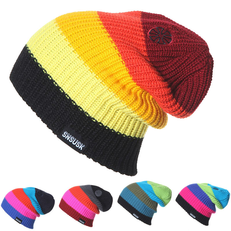 f758ff186d0 Men Women Skiing Warm Winter Hats Knitting Skating Skull Caps For Woman  Turtleneck Beanies Hat Snowboard Ski Cap