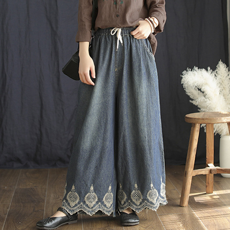 Women Wide Leg Culottes Bottom Jeans Denim Pants Trousers for Ladies Embroidery Lace Big Loose Vintage Fashion Elegant 67011