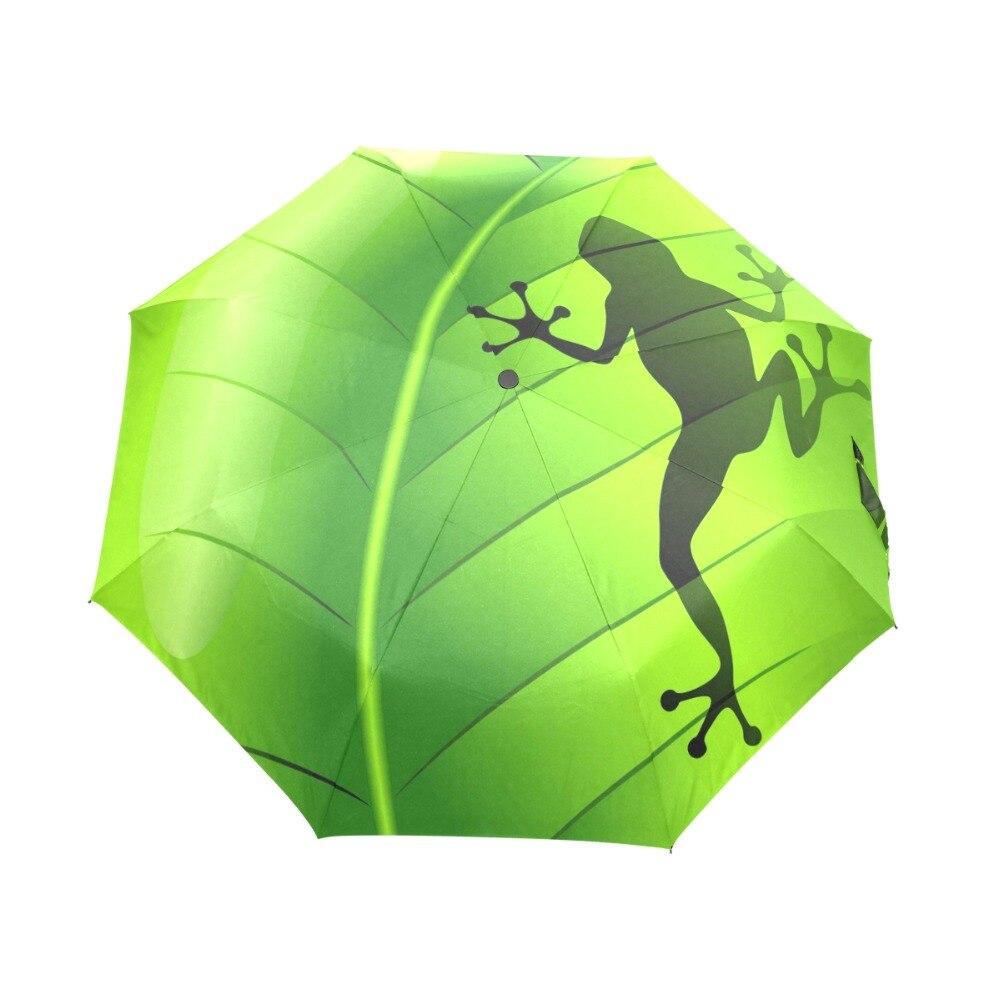 Fantasía Rana Lluvia Mujeres Paraguas 3 Paraguas Plegable Automático Anti-UV Sol / Lluvia Paraguas Sombrilla Paraguas Lindo Paraguas Verde Sombrinha