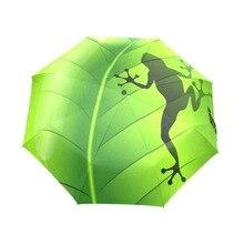 Фотография Fantasy Frog Rain Women Umbrella 3 Folding Automatic Umbrella Anti-UV Sun/Rain Umbrella Parasol Cute Paraguas Green Sombrinha