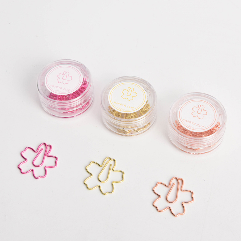 8pcs Metal Flower Shape Paper Clips Transparent Round Box Office File Clip Bookmarks Students Stationery