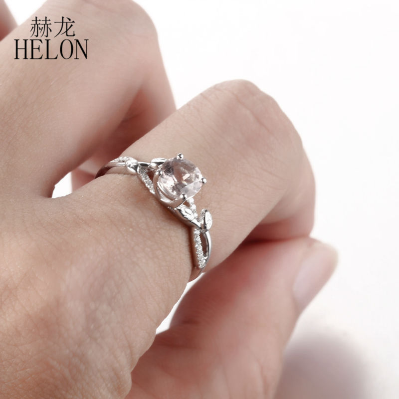HELON Sterling Silver 925 Certified Round 6mm 0.8ct Morganite Natural Diamond Engagement Wedding Ring For Women Trendy Fine RingHELON Sterling Silver 925 Certified Round 6mm 0.8ct Morganite Natural Diamond Engagement Wedding Ring For Women Trendy Fine Ring