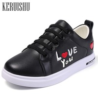 Keruishu Children's Casual Shoes Pink Wild Flat Shoes Teenage Fashion Genuine Leather Sneakers For Kids Black Unisex 32 37
