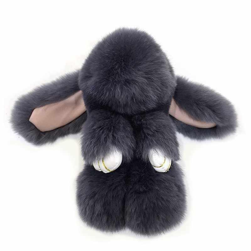 Coelho real fofo pele pompon coelho keychaintrinket feminino brinquedo pompom coelho chaveiro carro jóias presente do ano novo