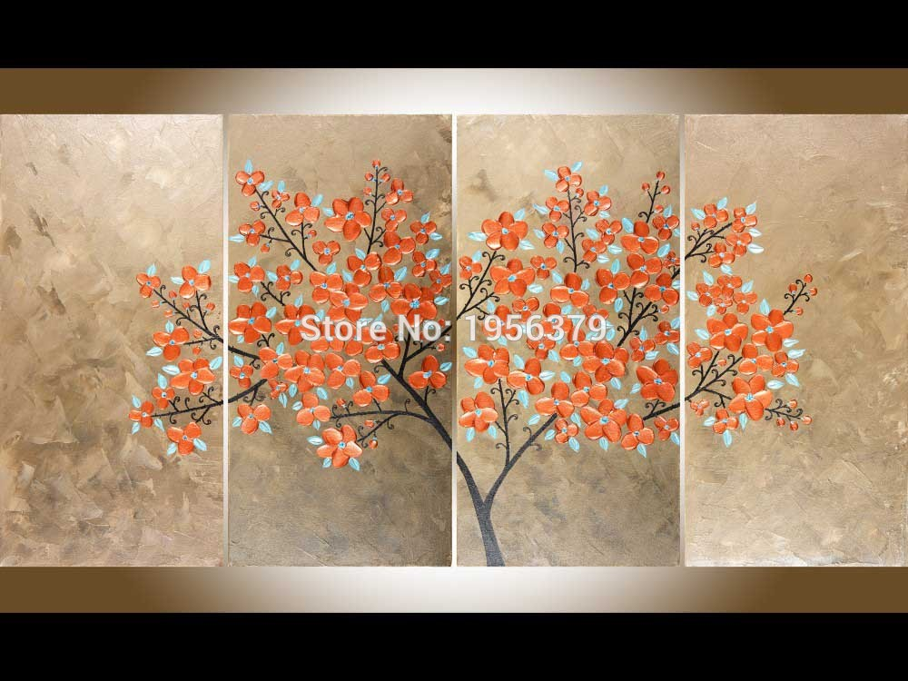 Artist Handmade Orange Petal With the Blue Leaves all Around the Tree Handmade High Quality Beautiful Flower Oil Painting