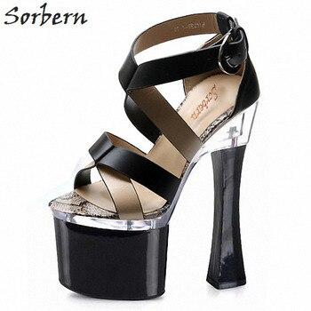Sorbern 18Cm Womens Platform Heel Sandals Women Luxury Designer Sandals Womens Party Sandals Gladiator Sandals Sexy Block Heels фото