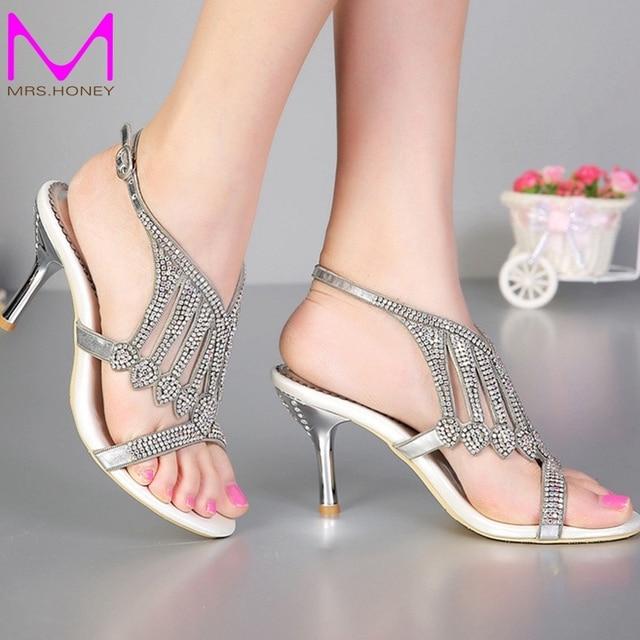 2016 Open Toe 3 Inches Summer Sexy High Heel Sandals Silver Rhinestone Wedding Dress Shoes Women Fashion Slingbacks Bridal Shoes