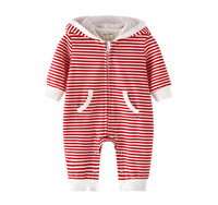 New Casual Baby Red Striped Hooded Long sleeve Romper 100% Cotton Jumpsuits Baby Zipper One piece Clothes