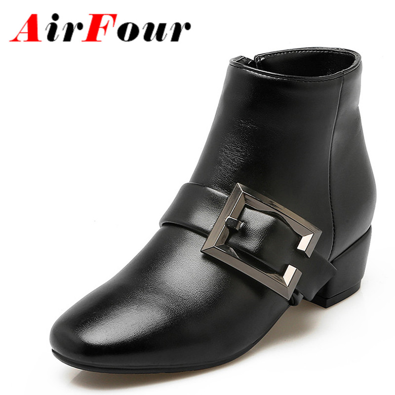 ФОТО Airfour High Heels 2 Colors White Shoes Woman Lace-up Winter Boots Shoes Mid-calf Boots ShoesRound Toe Platform Shoes Size 34-43
