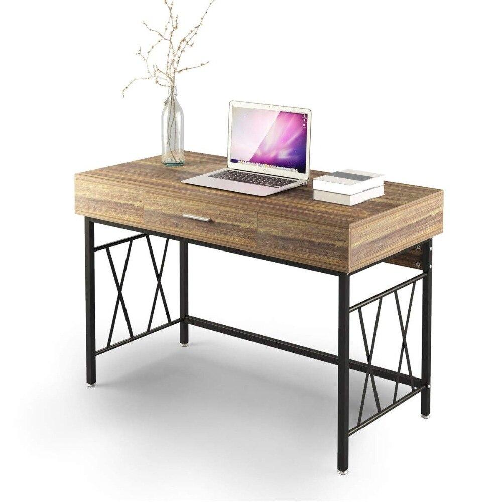 120 CM bureau bureau bureau poste de travail Table pour bureau à domicile bureau bureau d'ordinateur avec tiroir 47