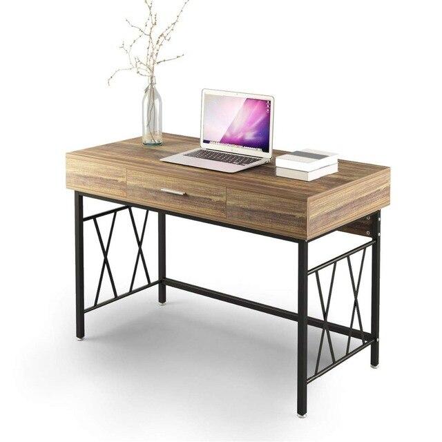 Escritorio de escritorio oficina 120 CM mesa estación trabajo para sala  estudio en casa ordenador con cajón 47