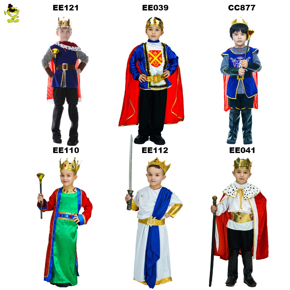 Kids Deluxe King Prince Costumes with Clown Role Cosplay Fancy Suits for Boys