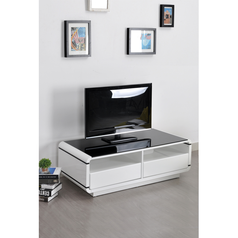 Aingoo Modern Tv Stand White And Black Coffee Table Living Room