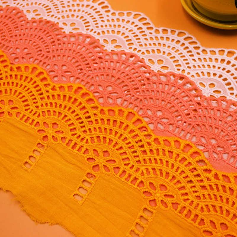 3Yds/lot 12.5cm genişliğinde yeni beyaz orange pembe nakış pamuk dantel el yapımı giyim etek kanepe DIY dekoratif kumaş AC469