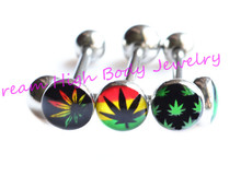 leaf Tongue Bar Rings Multicolour Bars Body Piercing Jewelry 14G 316L Surgical Steel Barbells Logo Wholesale Popular